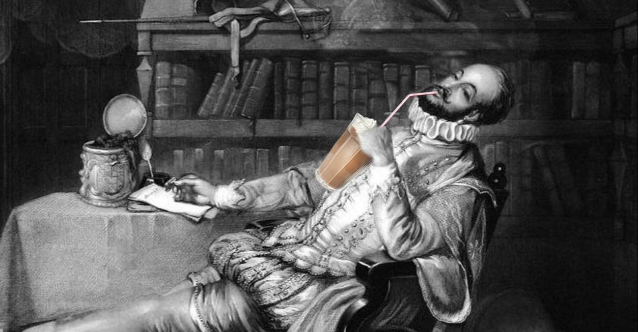 Sir Walter Raleigh drinking milkshake for the first time at the Virginia Ash pub in Henstridge